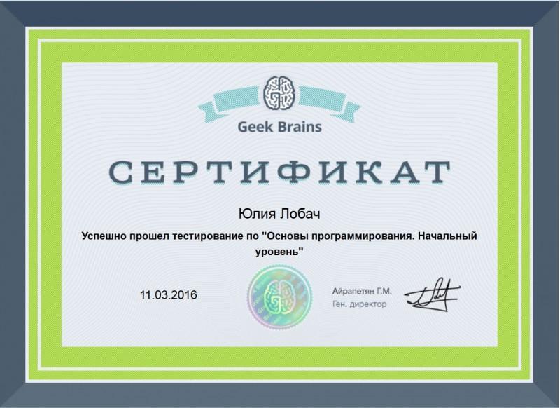 Дипломы и сертификаты Интернет маркетинг Юлия Лобач Сертификат о прохождении теста Основы программирования